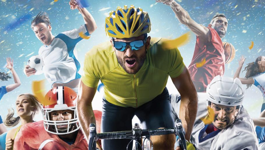 Bild på människor som utövar sport och idrott